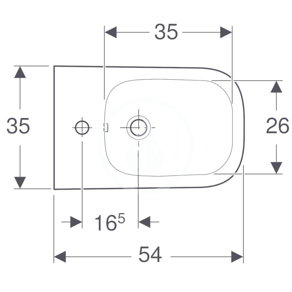 GEBERIT - Selnova Square Závesný bidet, 540x350 mm, biela (501.547.01.1)