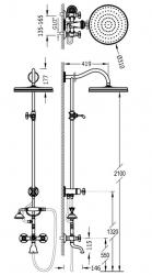 TRES - Súprava sprcha-vaňa batérie, excentre s tlmičom hluku, pevná sprcha priemer 310 mm (24217602LM), fotografie 2/1
