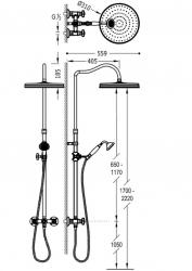 TRES - Súprava sprchové batérie, pevná sprcha priem 310 mm, s kĺbom (24219101LM), fotografie 2/1