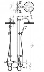 TRES - Súprava termostatické batérie pre vaňu-sprchu, pevná sprcha priemer 310 mm, s kĺbom (24219801LM), fotografie 2/1