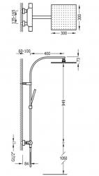 TRES - Súprava termostatické sprchové batérie, pevná sprcha 300x300 mm, s kĺbom (21139501BM), fotografie 2/1