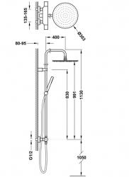 TRES - Súprava termostatické sprchové batérie, pevná sprcha priemer 300 mm. s kĺbom (26238701NM), fotografie 2/1