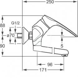 HANSA - Mix Páková umývadlová batéria nástenná, chróm (01968276), fotografie 4/2