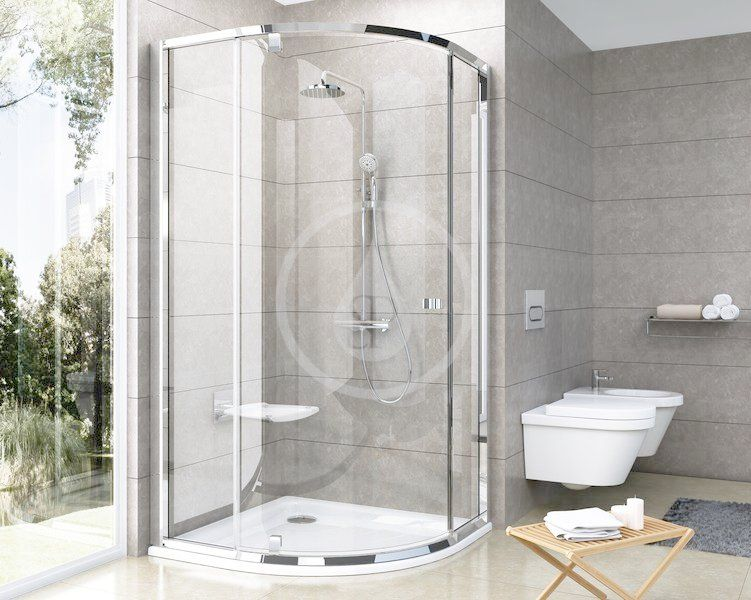 RAVAK - Pivot Štvrťkruhový sprchovací kút pivotový trojdielny PSKK3-80, šírka 770 mm – 795 mmx770 mm – 795 mm, rádius 500 mm – farba satin/satin, sklo transparent 37644U00Z1