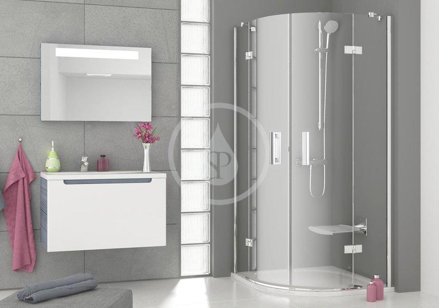 RAVAK - SmartLine Čtvrtkruhový sprchový kout SMSKK4-80, 785-800 mm, rádius 500 mm, transparentní sklo/chrom (3S244A00Y1)