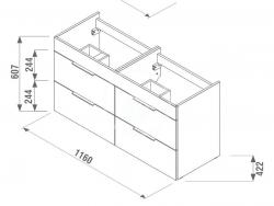 JIKA - Cube Skrinka so 4 zásuvkami, 1200x430 mm – farba biela/antibakteriálna (H4536621763001), fotografie 2/11