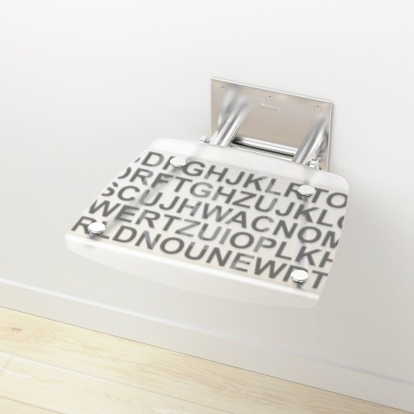 RAVAK - Ovo B Sprchové sedátko Decor Text 360x360x130 mm, bíločerná (B8F0000030)