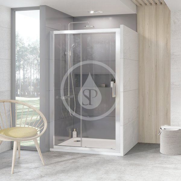 RAVAK - 10° Sprchové dveře dvoudílné 10DP2-100, 1000 mm, bílá/sklo (0ZVA0100Z1)