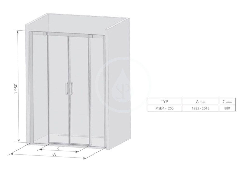 RAVAK - Matrix Sprchové dvere posuvné MSD4-200, štvordielne, 1985-2015 mm, lesklý hliník/sklo transparent (0WKK0C00Z1)