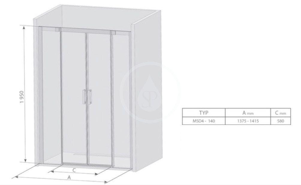 RAVAK - Matrix Sprchové dvere posuvné MSD4-140, štvordielne, 1375-1415 mm, farba biela/sklo transparent (0WKM0100Z1)