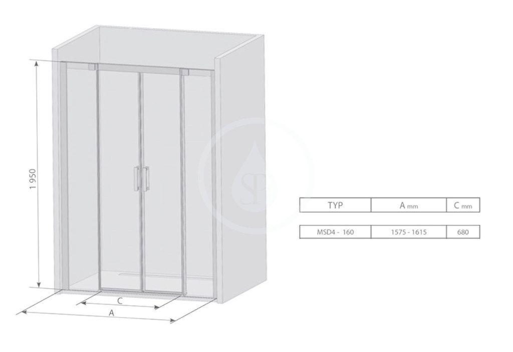 RAVAK - Matrix Sprchové dvere posuvné MSD4-160, štvordielne, 1575-1615 mm, farba biela/sklo transparent (0WKS0100Z1)
