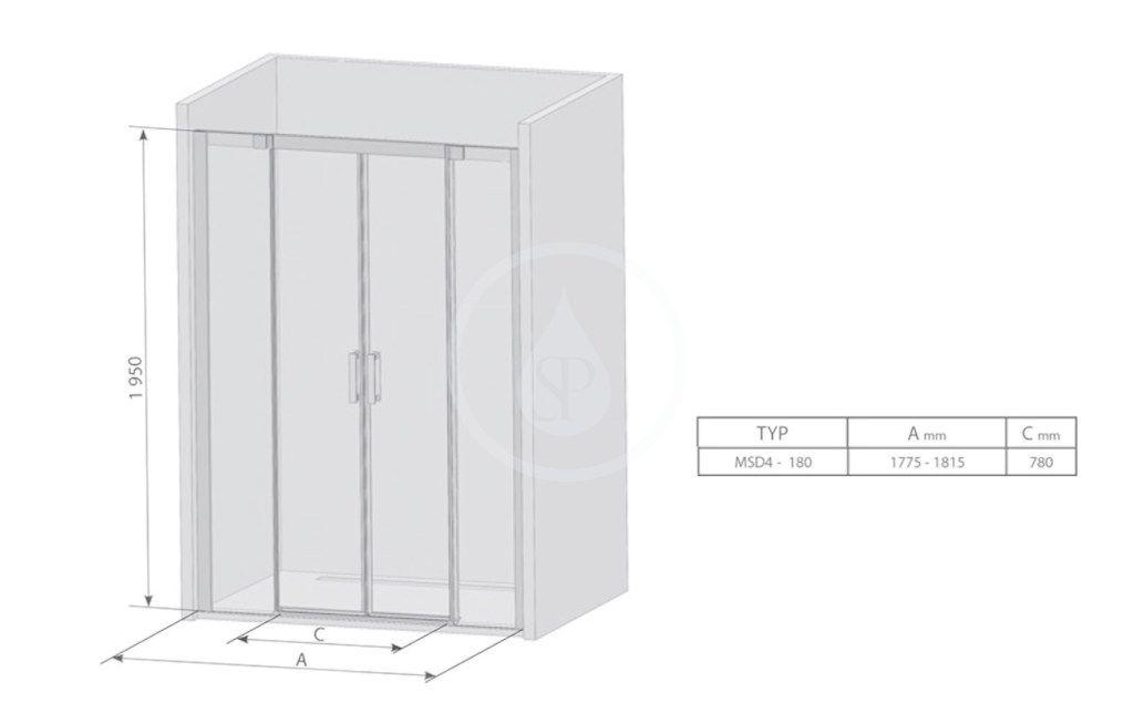 RAVAK - Matrix Sprchové dvere posuvné MSD4-180, štvordielne, 1775-1815 mm, farba satin/sklo transparent (0WKY0U00Z1)