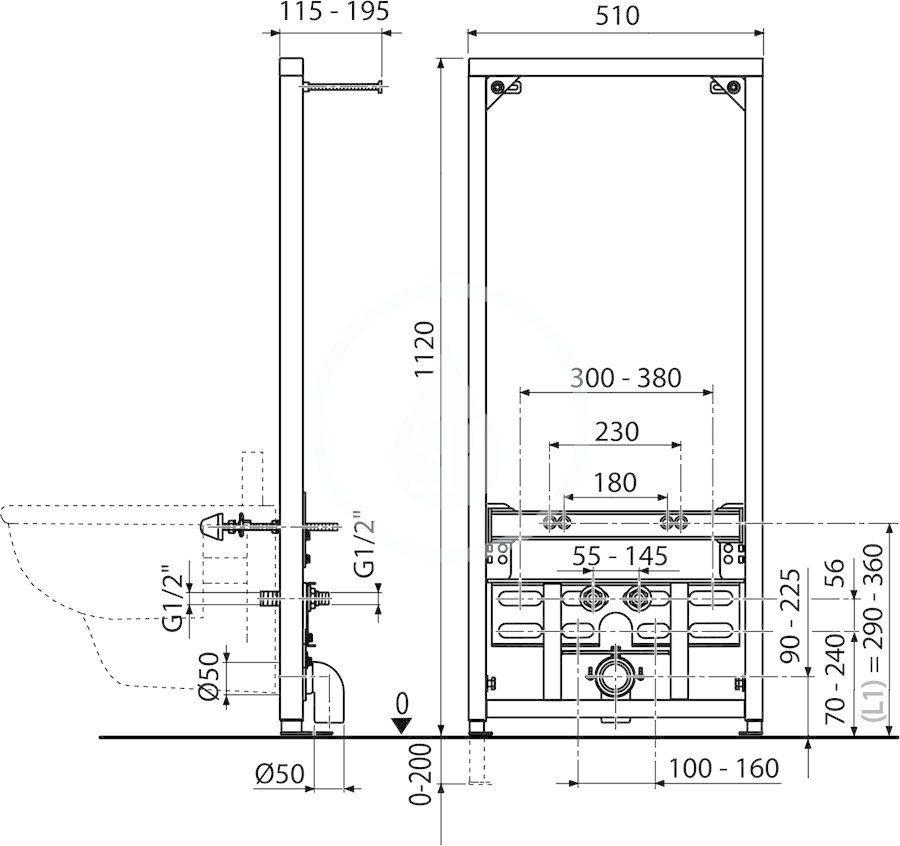 RAVAK - Příslušenství k WC Predstenová inštalácia II/1120 pre bidet (X01704)
