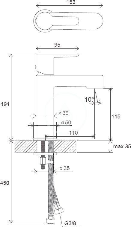 RAVAK - Puri Umývadlová batéria PU 014.00, chróm (X070113)
