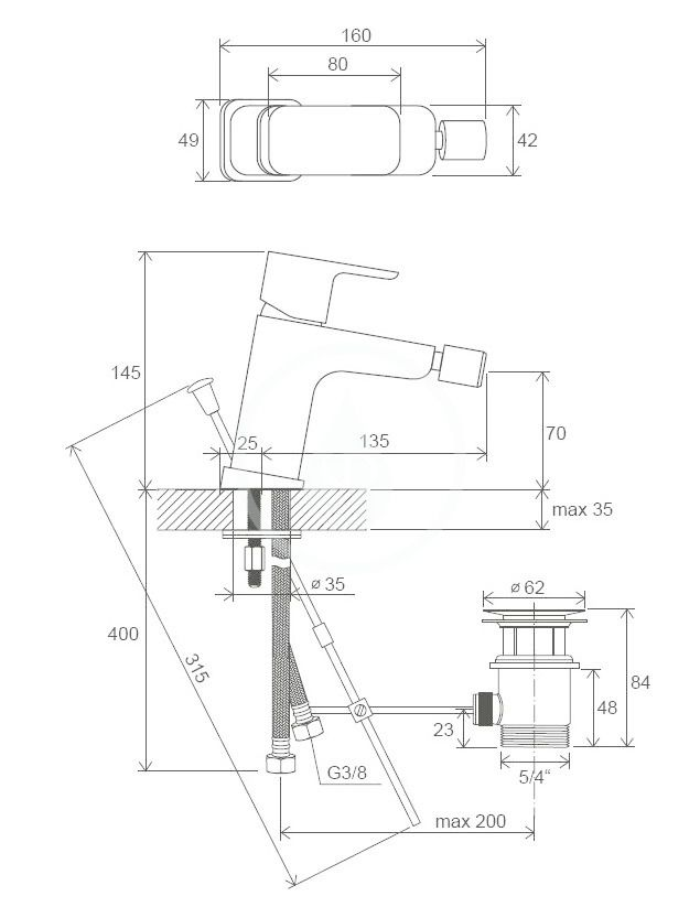 RAVAK - 10° Free Bidetová batéria TD F 055.00 s výpusťou, chróm (X070133)