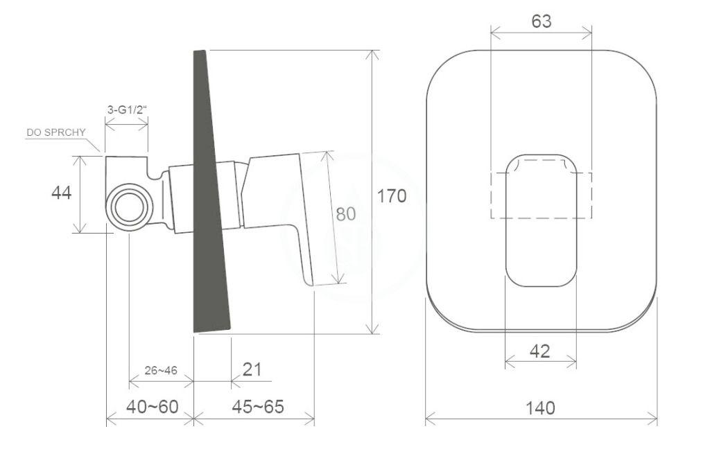 RAVAK - 10° Free Sprchová batéria TD F 062.00 pod omietku, s telesom, chróm (X070135)