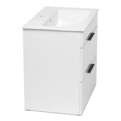 JIKA - Cube Skrinka s umývadlom, 640mmx422mmx607mm – skrinka, korpus biely, čelo zásuvky biele, držadlá čierne (H4536021763001), fotografie 6/8