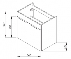 JIKA - Cube Skrinka s umývadlom, 640mmx422mmx607mm – skrinka, korpus biely, čelo zásuvky biele, držadlá čierne (H4536021763001), fotografie 16/8