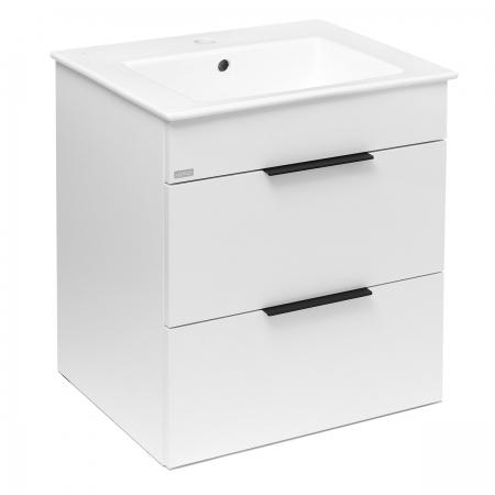 JIKA - Cube Skrinka s umývadlom, 540mmx422mmx607mm – skrinka, korpus biely, čelo zásuvky biele, držadlá čierne (H4536121763001)