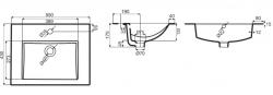 JIKA - Cube Skrinka s umývadlom, 540mmx422mmx607mm – skrinka, korpus biely, čelo zásuvky biele, držadlá čierne (H4536121763001), fotografie 14/8