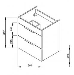 JIKA - Cube Skrinka s umývadlom, 540mmx422mmx607mm – skrinka, korpus biely, čelo zásuvky biele, držadlá čierne (H4536121763001), fotografie 16/8