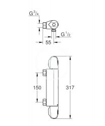 GROHE - Grohtherm 1000 Termostatická sprchová batéria, chróm (34146003), fotografie 2/1