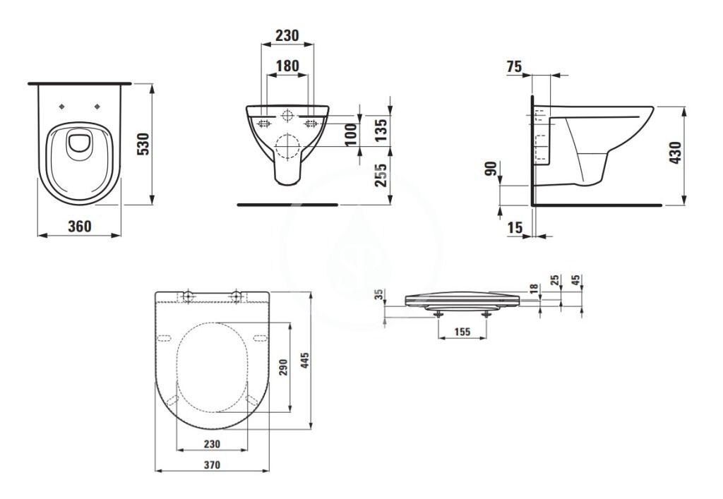 Laufen - Pro Závesné WC so sedadlom Slim, Slowclose, Rimless, biela (H8669510000001)