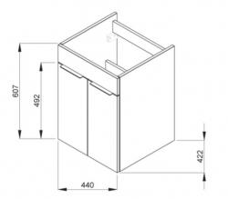 JIKA - Cube Skrinka s umývadlom, 440mmx422mmx607mm – skrinka, korpus biely, čelo zásuvky biele, držadlá čierne (H4536221763001), fotografie 16/8