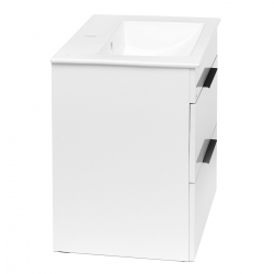 JIKA - Cube Skrinka s umývadlom, 440mmx422mmx607mm – skrinka, korpus biely, čelo zásuvky biele, držadlá čierne (H4536221763001), fotografie 4/8