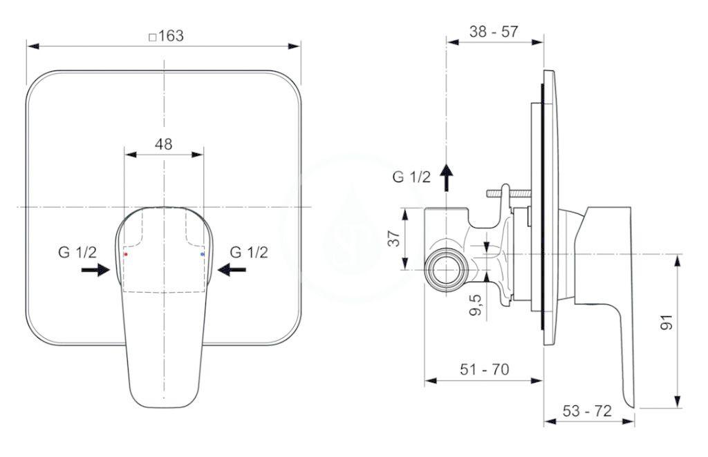 IDEAL STANDARD - Cerafine D Sprchová batéria pod omietku s telesom, chróm/sivá perla (A7188U8)