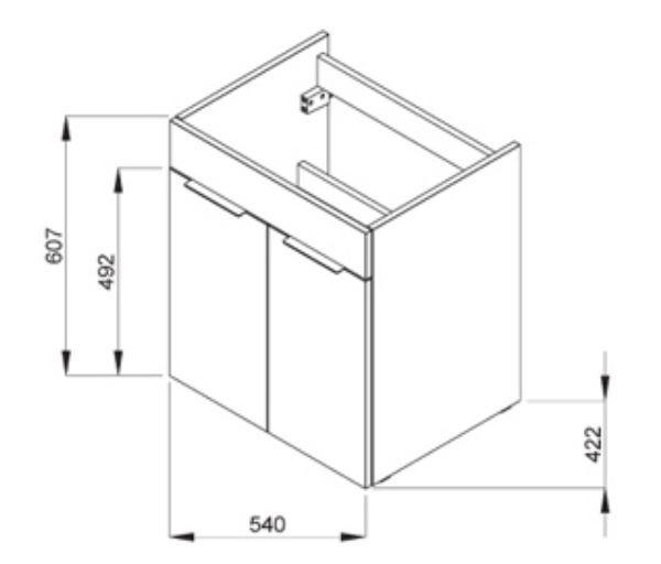 JIKA - Cube Skrinka s umývadlom, 540mmx422mmx607mm – skrinka, korpus biely, dvere biele, držadlá čierne (H4536111763001)