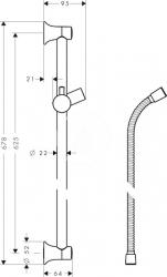 HANSGROHE - Croma Classic Nástenná sprchová tyč Unica'Classic 0,65 m, chróm (27617000), fotografie 2/1