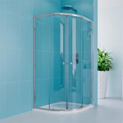 MEREO - Sprchový set z Kory Lite, štvrťkruh, 80 cm, chróm ALU, sklo Číre a vysoké SMC vaničky (CK35133HH)