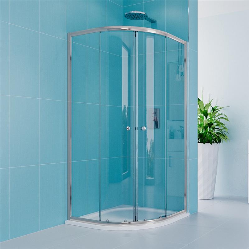 MEREO MEREO - Sprchový set z Kory Lite, štvrťkruh, 80 cm, chróm ALU, sklo Číre a vaničky z liateho mramoru CK35133HM