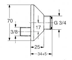 GROHE - Náhradní díly S-prípojka 17 mm, chróm (1205000M), fotografie 2/1