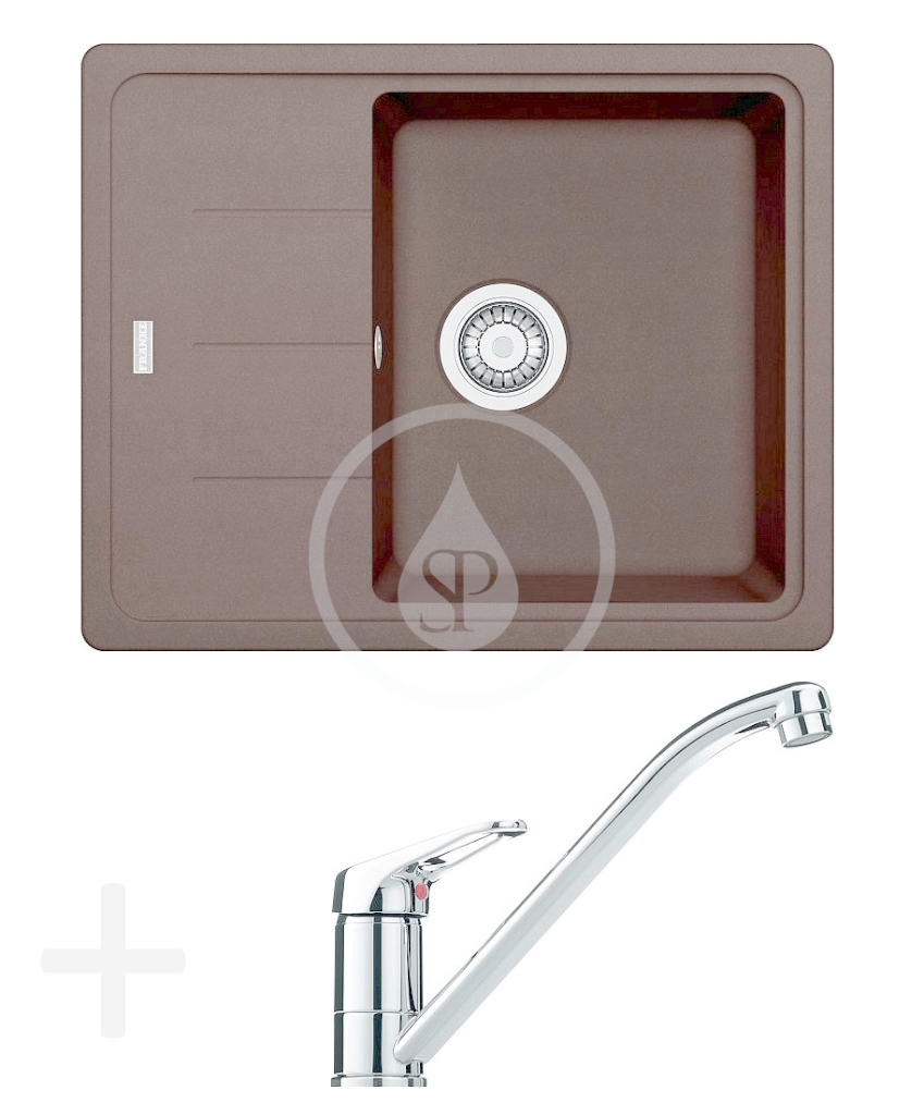 FRANKE FRANKE - Sety Kuchyňský set G65, granitový dřez BFG 611-62, tmavě hnědá + baterie FG 9541.031, chrom (114.0365.140)