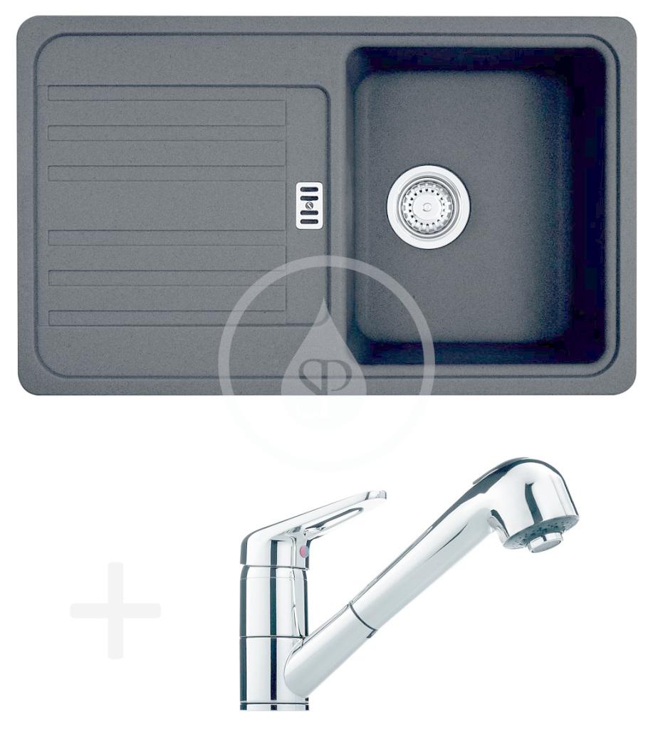 FRANKE FRANKE - Sety Kuchyňský set G18, granitový dřez EFG 614-78, onyx + baterie FC 9547.031, chrom (114.0252.890)