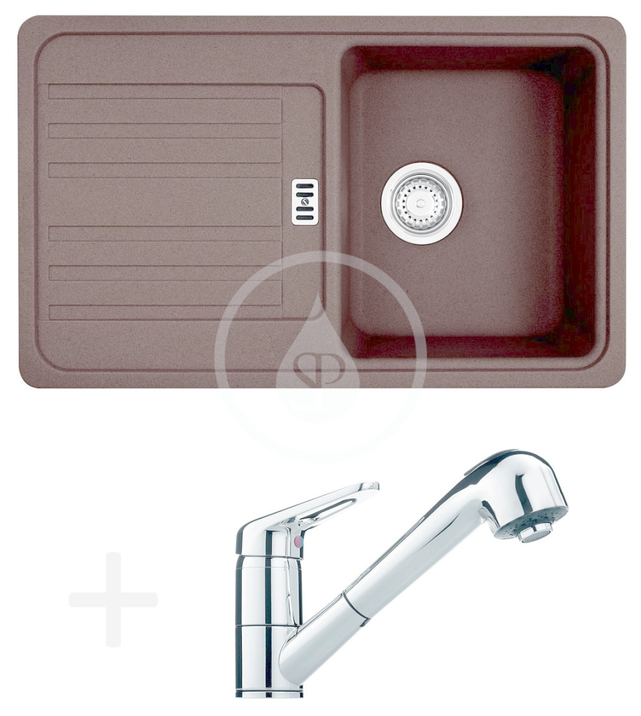 FRANKE FRANKE - Sety Kuchyňský set G18, granitový dřez EFG 614-78, tmavě hnědá + baterie FC 9547.031, chrom (114.0252.880)