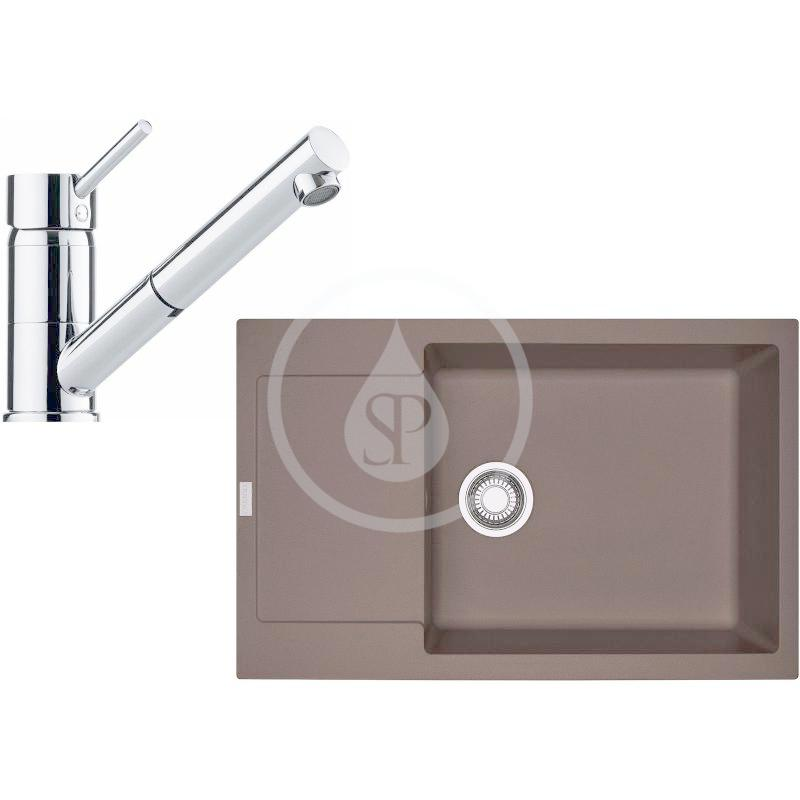 FRANKE FRANKE - Sety Kuchyňský set G106, granitový dřez MRG 611-78 BB, tmavě hnědá + baterie FG 7486.031, chrom (114.0439.881)