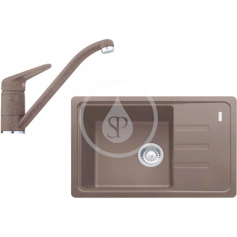 FRANKE FRANKE - Sety Kuchyňský set G117, fragranitový dřez BSG 611-62, tmavě hnědá + baterie FC 9541.070, chrom/tmavě hnědá (114.0440.713)