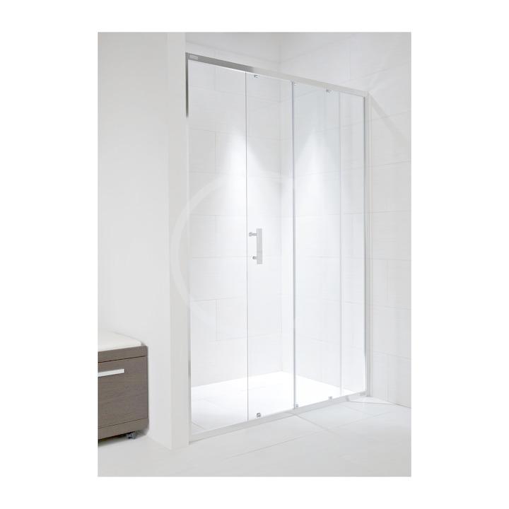 JIKA - Cubito Pure Sprchové dveře, 1 posuvný segment, 1 pevný segment, levé/pravé, 1400x30x1950 mm, stříbrný profil/sklo arctic (H2422480026661)