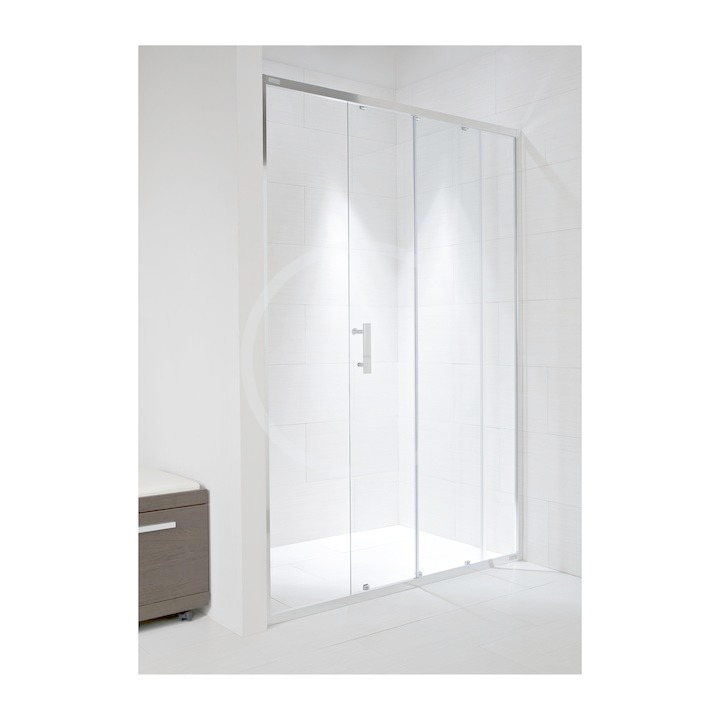 JIKA - Cubito Pure Sprchové dveře, 1 posuvný segment, 1 pevný segment, levé/pravé, 1400x30x1950 mm, stříbrný profil/transparentní sklo (H2422480026681)