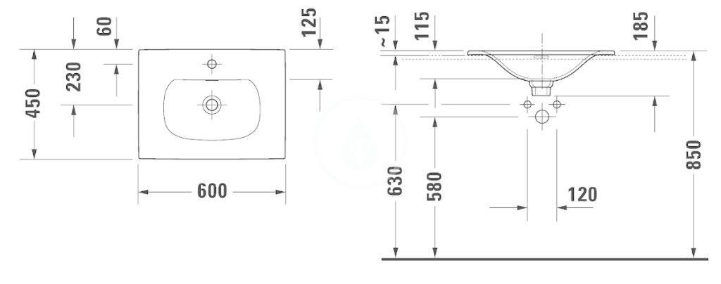 DURAVIT - Viu Umývadlo na dosku, 600x450 mm, s 1 otvorom na batériu, s WonderGliss, alpská biela (03856000001)