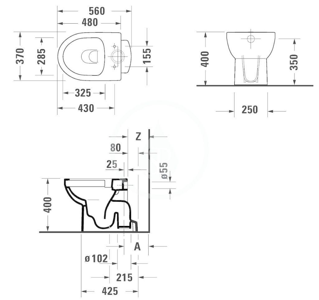 DURAVIT - DuraStyle Basic Stojace WC, spodný odpad, Rimless, s WonderGliss, alpská biela (21840100001)