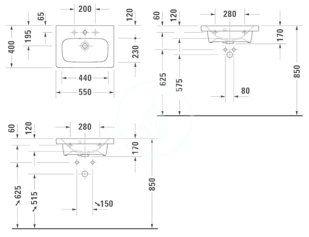 DURAVIT - DuraStyle Umývadlo Compact, 550x400 mm, s 3 otvormi na batériu, s WonderGliss, alpská biela (23375500301)