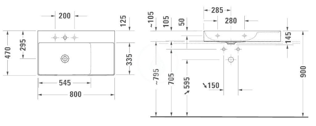 DURAVIT - DuraSquare Umývadlo nábytkové 800x470 mm, ľavé, DuraCeram, s WonderGliss, alpská biela (23488000791)