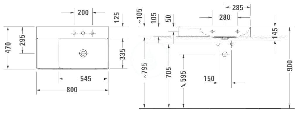 DURAVIT - DuraSquare Umývadlo nábytkové 800x470 mm, s 1 otvorom na batériu vpravo, DuraCeram, alpská biela (2349800071)