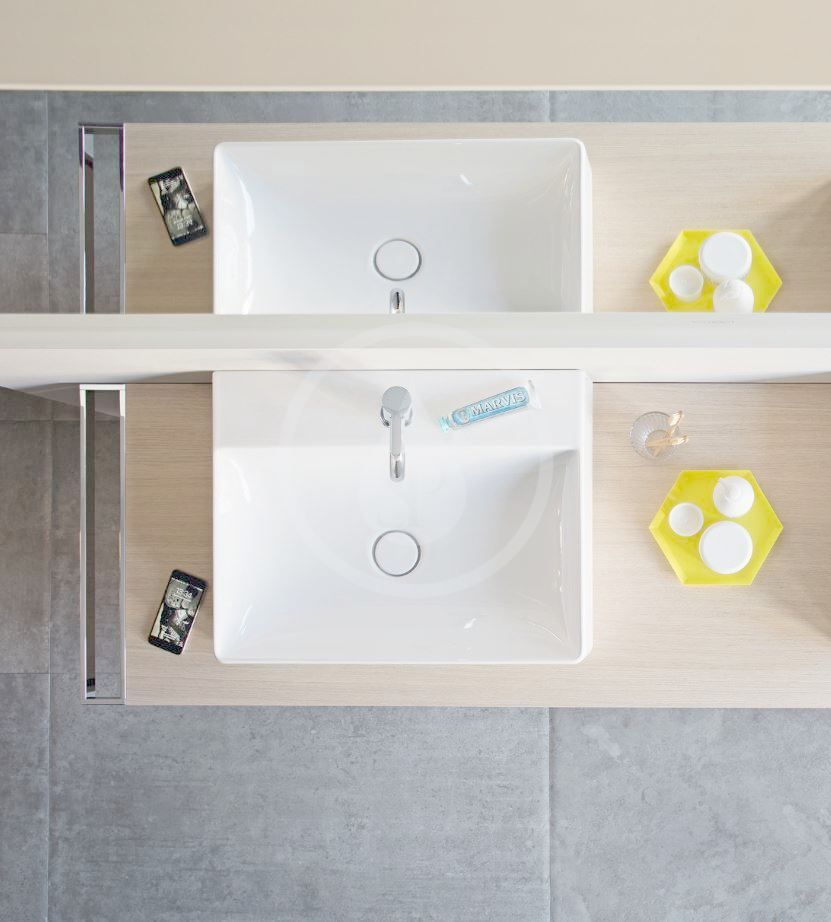 DURAVIT - DuraSquare Umývadlo nábytkové 500x470 mm, s 1 otvorom na batériu, DuraCeram, alpská biela (2353500071)