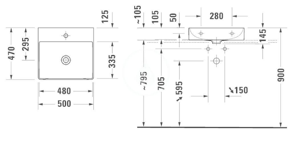 DURAVIT - DuraSquare Umývadlo nábytkové 500x470 mm, s 3 otvormi na batériu, DuraCeram, s WonderGliss, alpská biela (23535000731)