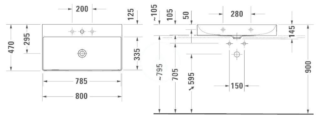 DURAVIT - DuraSquare Umývadlo nábytkové 800x470 mm, s 3 otvormi na batériu, DuraCeram, alpská biela (2353800073)